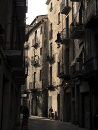 Little street in the spanish city of Girona, Spain
