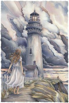 A Light After The Storm by Jody Bergsma ~ lighthouse ~ girl