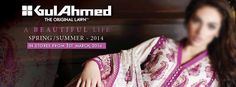 Gul Ahmed Spring and Summer original Lawn dresses designs clothing Collection 2014 for women with Price in Pakistan.