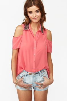 Total Stud Blouse in Coral