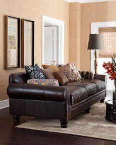 "H5SQ5 Key City Furniture ""Catalpa"" Leather Sofa"