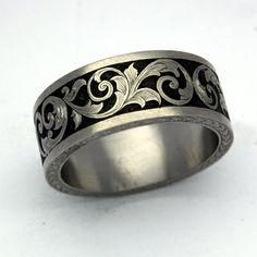 Wedding Band Engraved Patterns | Greek Pattern Laser Engraved Black Tungsten Ring - wedding heels