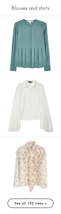 """Blouses and shirts"" by minorseventh ❤ liked on Polyvore featuring tops, blouses, diane von furstenberg tops, blue silk top, diane von furstenberg blouse, silk top, teal top, shirts, alexander wang and loose tops"