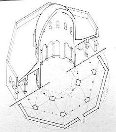 Cúpula de la Roca (Jerusalén, Israel) S.VII. Planta y sección. -5b.