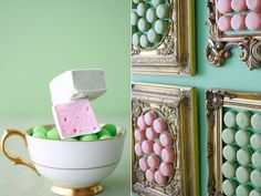 French Marshmallows and Macaroons on frames - perfect for my wedding dessert table