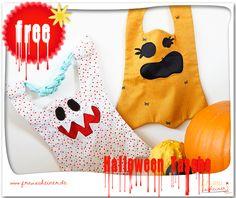 Freebook von Frau Scheiner: Halloween Gespenster Tasche Schnittmuster und Nähanleitung