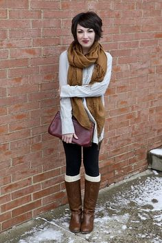 I can't wait for fall so I can bundle up in different cute layers like these. This is a great example of what i want! Scarves, Leggings, Boots, and jackets!
