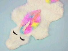 Beau tapis peluche licorne arc en ciel tout doux deco diy chambre ado fille