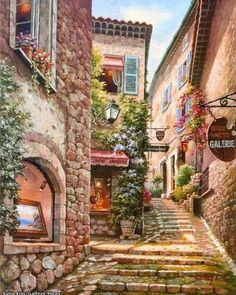 Town Painting by Sung Kim 01 A (Gallery Step Italian Street) . Buy any Canvas Art Print,Framed Art,Poster and Photo Print at Great Prices, Retail and Wholesale Satisfaction Manufacturer and Supplier. Colorful Paintings, Beautiful Paintings, Watercolor Paintings, Belle Image Nature, Italian Street, Beautiful Places, Scenery, Photos, Pictures