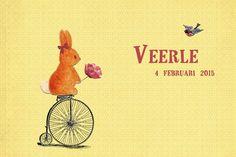 Geboortekaartje meisje - Veerle - konijntje op de fiets - Pimpelpluis https://www.facebook.com/pages/Pimpelpluis/188675421305550?ref=hl (# tekening - handgetekend - konijn - dieren - fiets - vintage - retro - origineel)