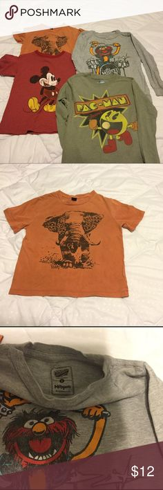 4 shirts/fit sz 5/6x kid, like new, gender neutral Orange elephant tshirt is by Baby GAP, size 5 year old. Very soft, short sleeves. Red vintage Mickey tshirt is way durable material, size xs, made by Disney, short sleeves. The two gray long sleeves shirts are from Old Navy, super comfy, both size S. All shirts fit a size 5t-6x kid. Great night shirts or to wear out. Super comfy. Great condition. My girl hardly wore these. Gender neutral. ;) GAP Shirts & Tops Tees - Short Sleeve