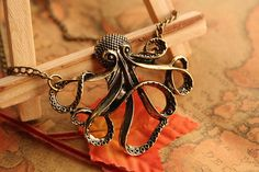 octopus necklaceretro bronze octopus pendant by fabuloustime