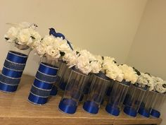 Centerpieces for Jericho Baptist Church! Royal Blue Centerpieces, Party Centerpieces, Wedding Decorations, Graduation Centerpiece, Purple Wedding, Wedding Colors, Diy Wedding, Wedding Flowers, Galaxy Wedding