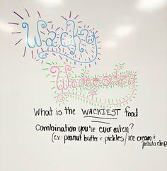 "Am I the only one that looks at my lettering for my #interactivewhiteboard some days and think, ""What in the world is going on here?!"" On a more positive note, at least I got the day right!  #miss5thswhiteboard #wackywednesday"