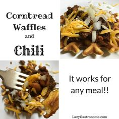 Cornbread and Chili for breakfast? Why not? Just make these delicious cornbread waffles and top them with chili and cheese - A-mazing!
