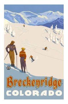 Vintage style Breckenridge ski poster. 18x24.