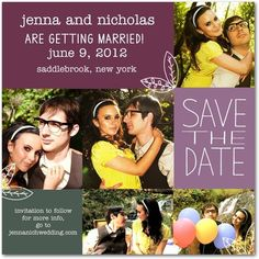 cute save the date with several pictures of couple, wedding ideas