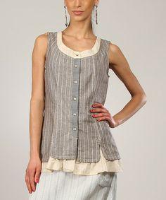 Beige & Mole Sophie Linen-Blend Button-Up Top by L33 by Virginie&Moi #zulily #zulilyfinds