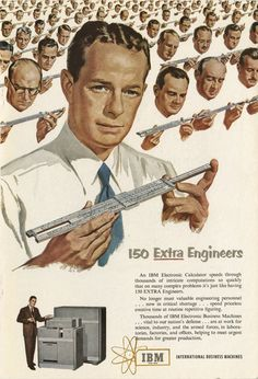 Advertisement comparing slide rules to electronics - CHM Revolution