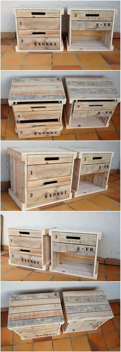 How beautifully these wood pallet side tables with drawers has been designed for the beauty of your house! This creation is rather small in size and you can make the perfect use of the drawers to add it up over the storage purposes. See the image and get some idea in this aspect! #palletfurniture