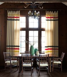 Rustic Dining Room- Hudson Bay blanket drapery hudson bay color stripes on pillows Home, Cabin Decor, Diy Drapes, Cabin Style, House, Dining Room Decor, Cabin, Cabin Living, Log Homes