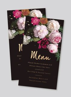 Dark moody wedding invitations with gold foil. Vintage floral with black and gold text stationery suite for weddings. Wedding invitation template for sale.