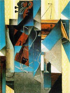 Juan Gris: Violon et gravure accrochée. Art Print, Canvas on Stretcher Art Works, Art Prints, Art Painting, Painting, Abstract Artwork, Art, Cubist Art, Art Movement, Abstract