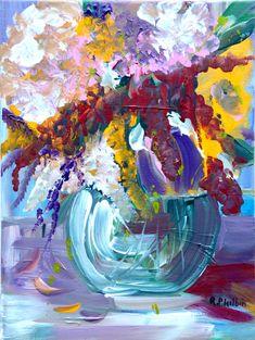 Giving Joy acrylic painting original artwork contemporary painting by Irish artist Rine Philbin, bouquet of flowers ,vase, Original Artwork, Original Paintings, Flower Vases, Flowers, Canvas Board, Contemporary Paintings, Still Life, Saatchi Art, Abstract Art