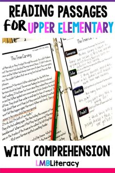 Reading Passages for Upper Elementary – Education Reading Strategies Posters, Improve Reading Comprehension, Comprehension Questions, Reading Tips, Reading Resources, Reading Skills, Teaching 5th Grade, 4th Grade Reading, Teaching Writing