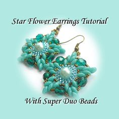 PDF Tutorial Star Flower Earrings with Super Duo Beads. Pattern, Instructions, beadwork.