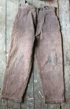 Antique 1920s Brown French Work Chore pants cord trousers French Workwear Boro RRL