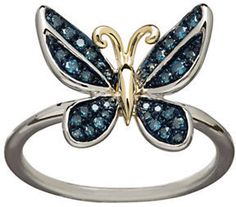 Lord & Taylor 14K Yellow Gold Sterling Silver and Diamond Butterfly Ring on shopstyle.com