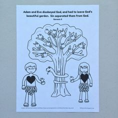 Adam and Eve sinned activity sheet for preschoolers.