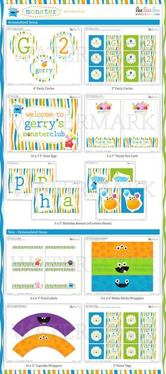 Monster Birthday Party Mini Set - PERSONALIZED PRINTABLE DIY - BX25y. $29.00, via Etsy.