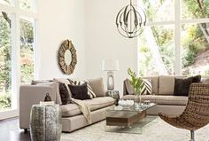 Transitional Living Room with Uttermost 12742 B Hemani Wall Mirror, IMAX Worldwide 19950 Vanora Accent Table, Carpet