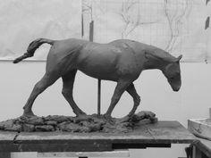 Clay for bronze Horse Sculpture / Equines sculpture by artist Ellen Christiansen titled: 'stone of Folca II (small bronze Horse after Bugatti (Rembrandt))'