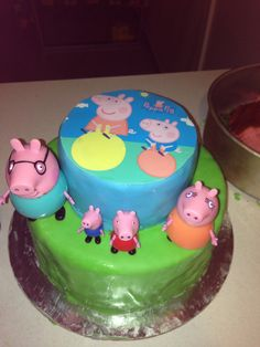 Peppe pig cake That I made for my daughters 2nd bday