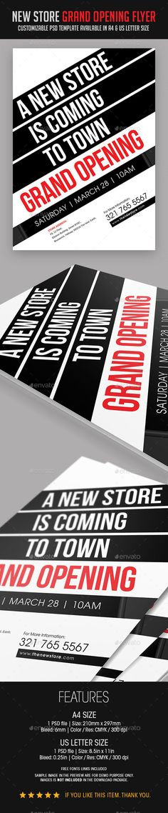 New Store Grand Opening Flyer — Photoshop PSD #minimal #creative • Available here → https://graphicriver.net/item/new-store-grand-opening-flyer/9125719?ref=pxcr