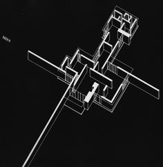 Brick Country House, 1923   ~Ludwig Mies van der Rohe  (Axonometric)        (500×514)