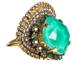 """Gorgeous, as a cocktail ring. Like the combination of textures colors and sizes. Erickson Beamon """"Bossanova"""" Ring"""