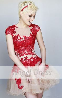 Short prom dress/ lace prom dress/short red by angeldress2014, $129.00