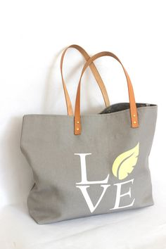 LOVE THY NATURE bag ... Lemon Chiffon and Gray Canvas Tote... Personalized Label