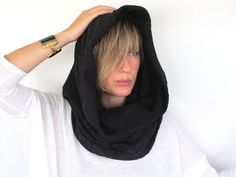 Black Hood Scarf Cowl Neckwarmer. Water by 33Accessories on Etsy, $72.00
