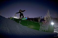 Night riding at Park City Mountain Resort's 3 Kings terrain park. Aaron Biittner