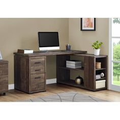 """Computer Desk - Brown Wood Grain L/R Facing Corner - Monarch Specialties trendy and industrial look of this """"L"""" shaped computer desk will be the focal point in your modern home office. This simple and stylish desk features thick panels and clean L Shaped Office Desk, L Shaped Corner Desk, L Shaped Executive Desk, Wood Corner Desk, Corner Office Desk, Small L Shaped Desk, Home Office Space, Home Office Desks, Home Office Furniture"""