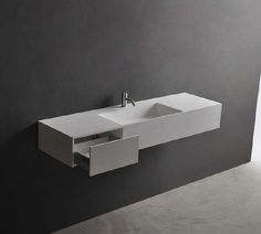 The Pure washbasin collection combines a compact, thin wall design with clever function, stylish good looks and hardwearing practicality. The range includes basins with an innovative built in towel rail and the larger sizes become vanities with handy i