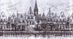 Beautiful line drawing of delft-old-scene.jpg (3480×1869)