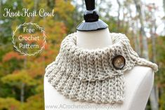 Free Crochet Pattern - Knot Knit Cowl by A Crocheted Simplicity