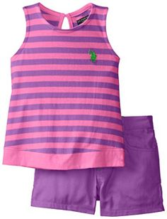 U.S. POLO ASSN. Little Girls' Striped Tank Top and Solid Short Shorts Set