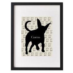 Impresión de silueta Pet personalizado de su fotografía, perro, silueta de gato, amigo de peluche, mascota perfil